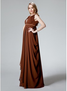 Empire V-neck Floor-Length Chiffon Charmeuse Maternity Bridesmaid Dress With Ruffle Sash (045022467)