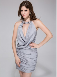 Sheath Halter Short/Mini Jersey Cocktail Dress With Ruffle Beading