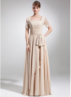 A-Line/Princess Square Neckline Floor-Length Chiffon Mother of the Bride Dress With Ruffle Lace Beading Bow(s)