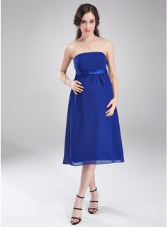 Empire Strapless Knee-Length Chiffon Charmeuse Maternity Bridesmaid Dress With Ruffle Sash