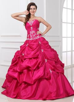 Corte de baile Escote corazón Vestido Tafetán Vestido de quinceañera con Volantes Encaje Bordado