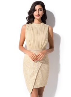 Sheath/Column Scoop Neck Short/Mini Chiffon Charmeuse Lace Cocktail Dress With Ruffle