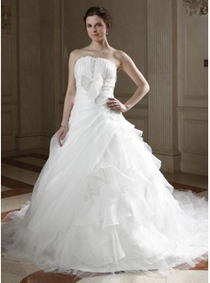 Ball-Gown Strapless Cathedral Train Organza Satin Wedding Dress With Ruffle Lace Beadwork