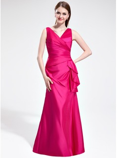 Sheath V-neck Floor-Length Taffeta Bridesmaid Dress With Ruffle