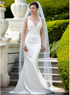 Sheath/Column V-neck Sweep Train Charmeuse Wedding Dress With Ruffle Beadwork Sequins (002012598)
