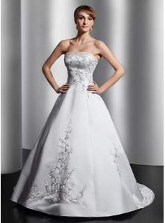 Ball-Gown Strapless Court Train Satin Wedding Dress With Embroidery Sash Beading
