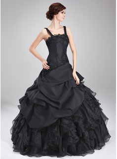 Ball-Gown Square Neckline Floor-Length Taffeta Organza Quinceanera Dress With Lace Beading Cascading Ruffles
