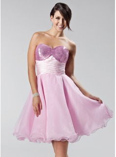 Empire Sweetheart Short/Mini Organza Charmeuse Sequined Homecoming Dress With Ruffle (022020625)