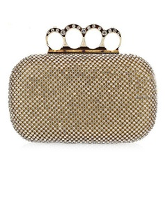 Elegant Metal With Rhinestone Clutches