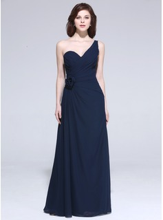 Sheath One-Shoulder Floor-Length Chiffon Evening Dress With Ruffle Flower(s)