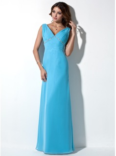 Empire V-neck Floor-Length Chiffon Evening Dress With Ruffle Beading (017039550)