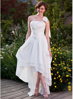 A-Line/Princess One-Shoulder Asymmetrical Chiffon Wedding Dress With Ruffle Beadwork (002025638)