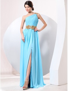 A-Line/Princess One-Shoulder Floor-Length Chiffon Evening Dress With Ruffle Beading Split Front