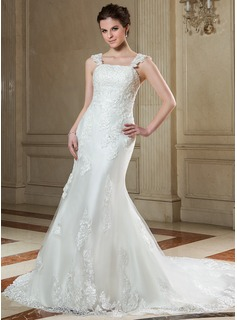 Trumpet/Mermaid Square Neckline Court Train Satin Tulle Wedding Dress With Lace Beading Sequins Bow(s)