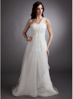 Empire One-Shoulder Court Train Organza Wedding Dress With Ruffle Beadwork (002012637)