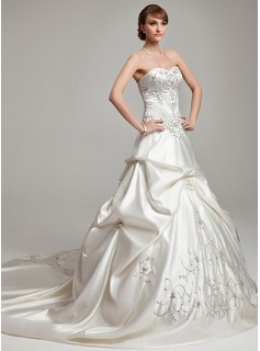 Ball-Gown Sweetheart Cathedral Train Satin Wedding Dress With Embroidery Ruffle Beading
