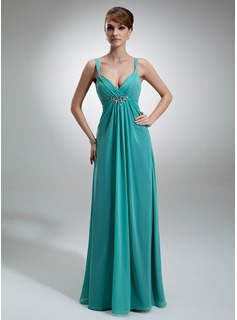 Empire V-neck Floor-Length Chiffon Kate Middleton Style With Ruffle Beading (044007576)