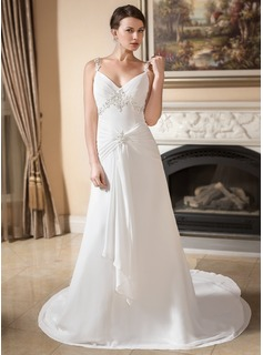 A-Line/Princess V-neck Watteau Train Chiffon Wedding Dress With Lace Beading Cascading Ruffles