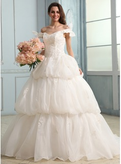 Ball-Gown Off-the-Shoulder Court Train Organza Satin Wedding Dress With Ruffle Lace Beading Bow(s)