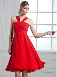 Empire V-neck Knee-Length Chiffon Cocktail Dress With Ruffle Bow