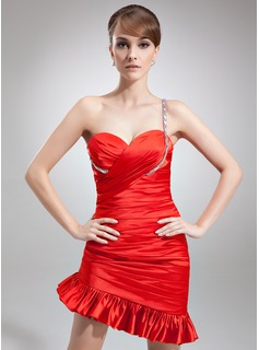 Sheath One-Shoulder Asymmetrical Charmeuse Cocktail Dress With Ruffle Beading