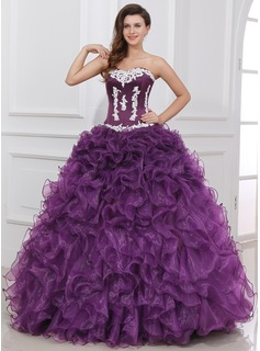 Ball-Gown Sweetheart Floor-Length Organza Satin Quinceanera Dress With Ruffle Lace