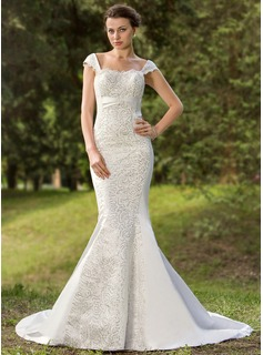 Mermaid Sweetheart Court Train Satin Wedding Dress With Lace Sequins