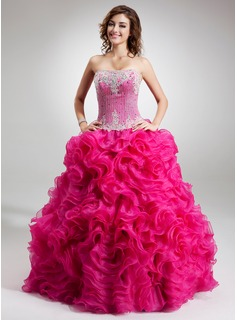 Ball-Gown Strapless Floor-Length Organza Quinceanera Dress With Lace Beading (021016752)