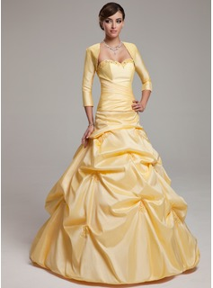 Ball-Gown Sweetheart Floor-Length Taffeta Quinceanera Dress With Ruffle Beading (021002888)