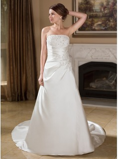 A-Line/Princess Strapless Chapel Train Satin Wedding Dress With Ruffle Lace Beadwork