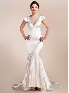 Trumpet/Mermaid V-neck Asymmetrical Charmeuse Wedding Dress