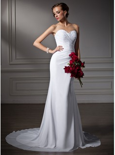 Mermaid Sweetheart Court Train Chiffon Wedding Dress With Ruffle Beadwork