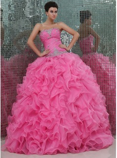 Ball-Gown Sweetheart Floor-Length Organza Quinceanera Dress With Ruffle Beading (021017441)