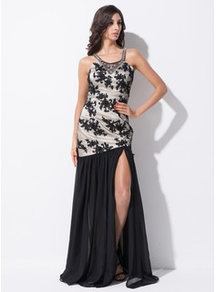 Trumpet/Mermaid Scoop Neck Floor-Length Chiffon Tulle Prom Dress With Beading Sequins Split Front