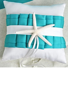 Beach Themed Blue Wedding Ring Pillow with Starfish(103018271)