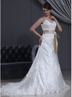 A-Line/Princess V-neck Chapel Train Tulle Charmeuse Wedding Dress With Lace Sashes Beadwork