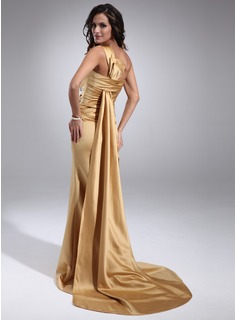 Sheath One-Shoulder Watteau Train Satin Evening Dress With Ruffle