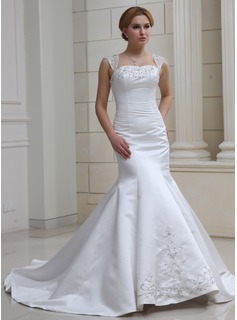 Mermaid Sweetheart Chapel Train Organza Satin Wedding Dress With Embroidery Beadwork Sequins
