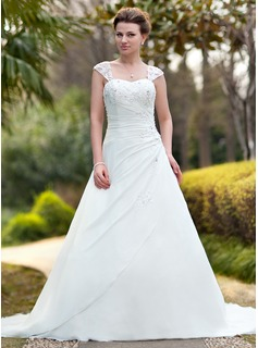 A-Line/Princess Strapless Cathedral Train Chiffon Wedding Dress With Ruffle Lace Beadwork (002011638)