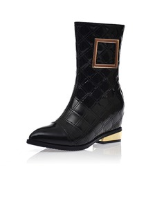 Real Leather Wedge Heel Mid-Calf Boots With Sequin shoes
