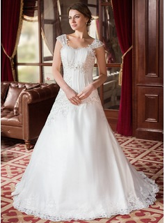 A-Line/Princess Sweetheart Court Train Organza Satin Wedding Dress With Ruffle Lace Beadwork