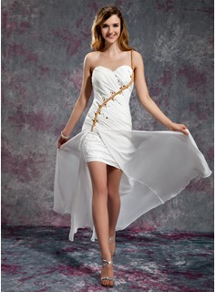 A-Line/Princess One-Shoulder Floor-Length Chiffon Satin Prom Dress With Ruffle Lace Beading Split Front