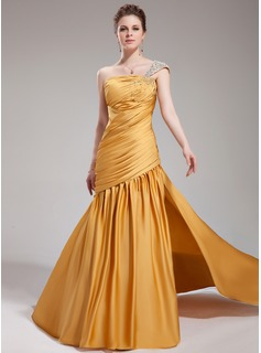 Trumpet/Mermaid One-Shoulder Court Train Satin Chiffon Evening Dress With Ruffle Beading Split Front