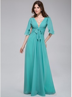 A-Line/Princess V-neck Floor-Length Chiffon Evening Dress With Bow(s) Cascading Ruffles