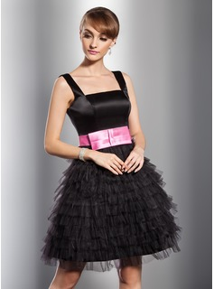 A-Line/Princess Square Neckline Knee-Length Satin Tulle Cocktail Dress With Sash
