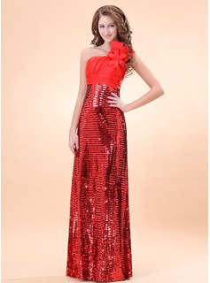 A-Line/Princess One-Shoulder Floor-Length Charmeuse Sequined Evening Dress With Ruffle