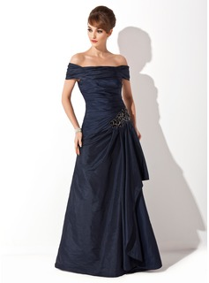 A-Line/Princess Off-the-Shoulder Sweep Train Taffeta Mother of the Bride Dress With Ruffle Appliques Sequins