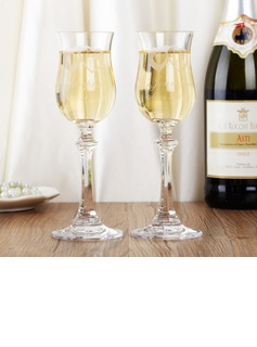 Personalized Double Hearts Glass Toasting Flutes (Set of 2)