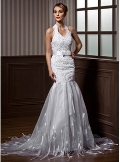 Mermaid Halter Court Train Organza Charmeuse Wedding Dress With Lace Sashes Beadwork (002012739)
