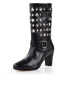 Real Leather Chunky Heel Mid-Calf Boots With Sequin shoes